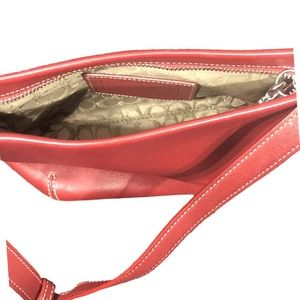 "Small Red Leather Coach Handbag Purse 5""x8"" Clutch"